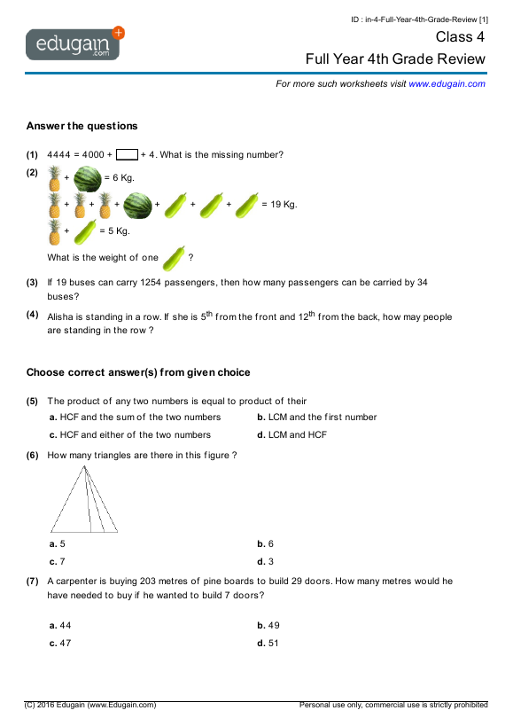 Grade 4 Math Worksheets and Problems Full Year 4th Grade Review – Grade 4 Math Review Worksheets